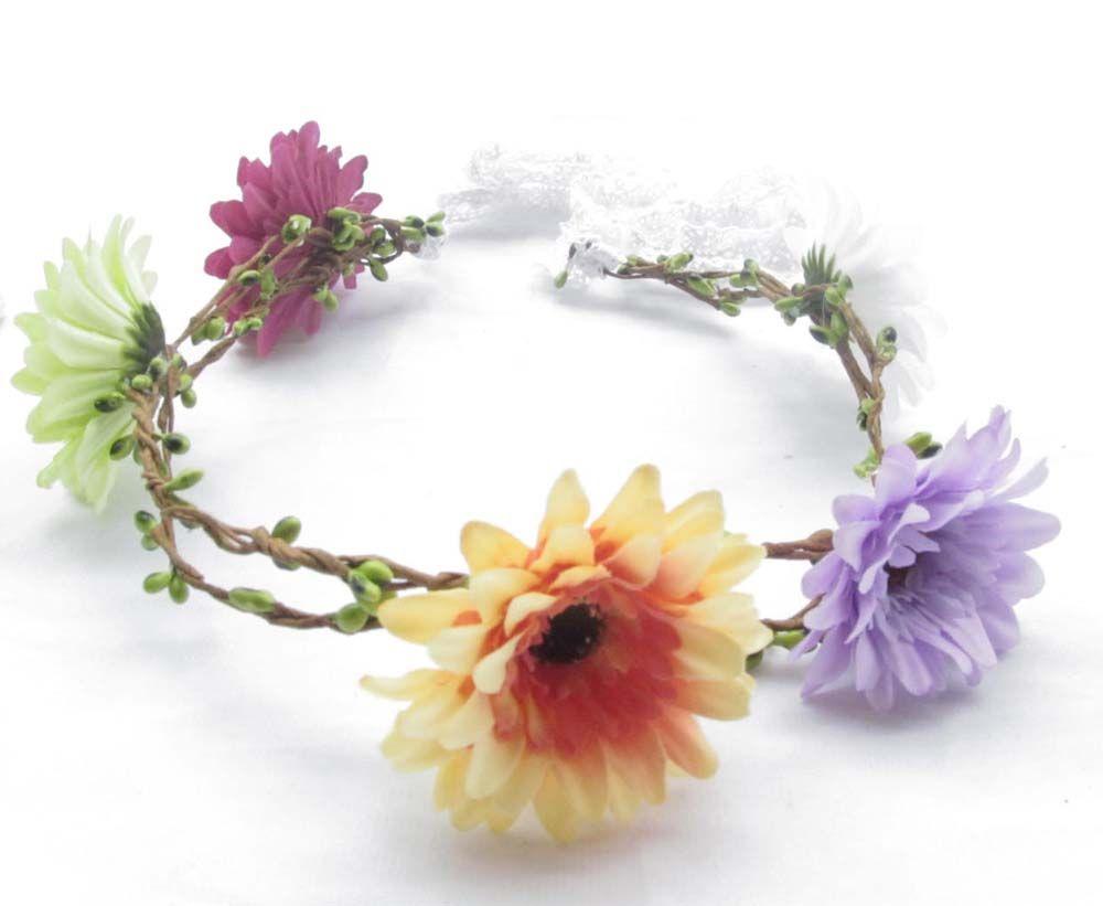 2018 Bohemia Artificial Silk Daisy Flower Crown For Wedding Bridal