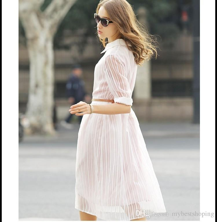 New Summer Style Women Fashion Half Sleeve Shirt Dresses Ladies Sexy Hollow Out Organza Long Dress Girls Casual Stripe 7 Points Sleeve Dress