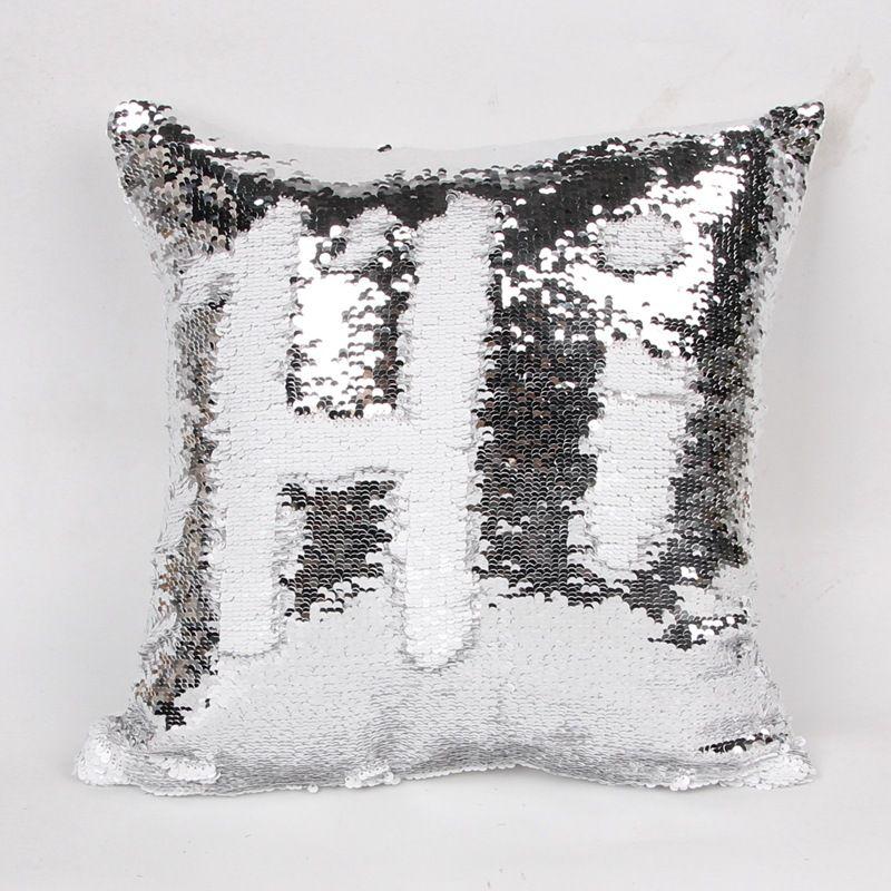 Nuovo hotselling doppio sequin cuscino cuscino accessori di illuminazione copertura cuscino quadrato glamour cuscino la casa del divano auto arredamento sirena luminoso