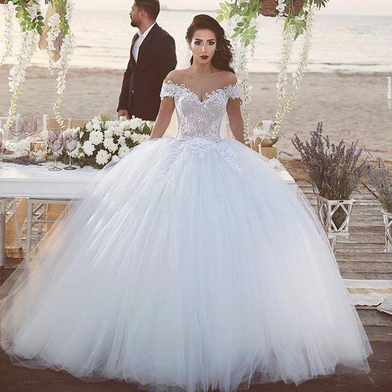 2016 mais novo vestido de baile vestidos de casamento fora do ombro manga curta tule vestido de noiva longo trem robe de mariage vestidos de noiva