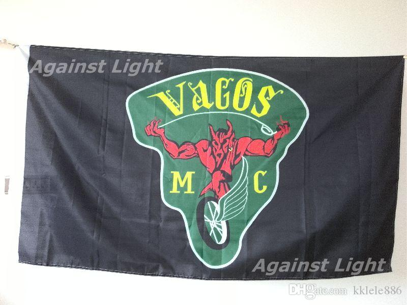 Vagos Motorcycle Club Flag 90 X 150 Cm Polyester Green Nation Outlaw