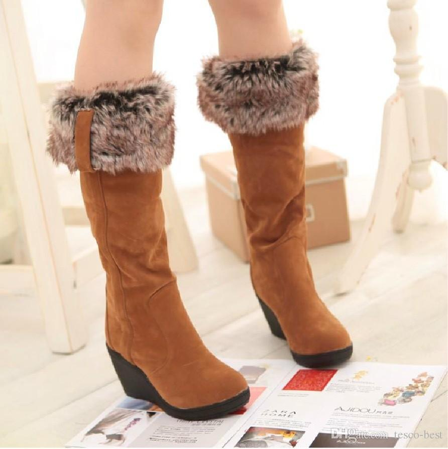2016 New Fashion Snow Boots Women Winter Boots Wedges High Heels Shoes Long  Barreled Folding Thermal Winter Shoes Cat Boots Shoe Sale From Tesco Best 0107383bc9f6