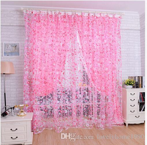Floral Tulle Voile Porta Cortina Painel Drape Sheer lenço Valances
