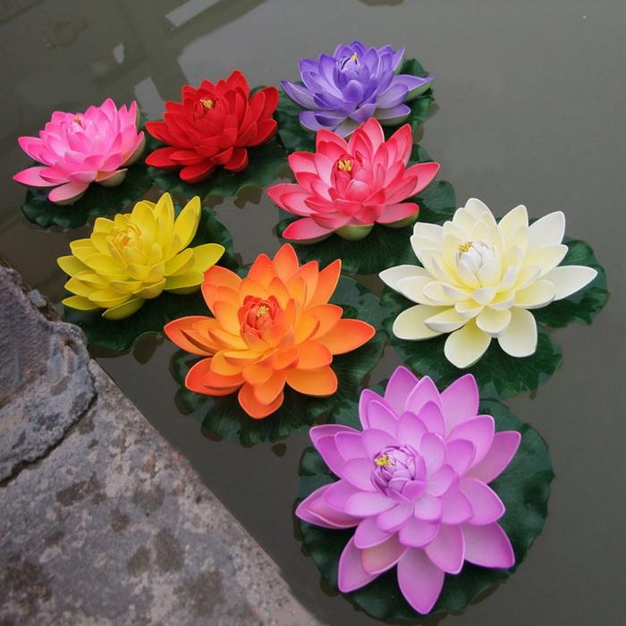 Artificial floating lotus flowers garden aquarium floating for Floating flowers in water