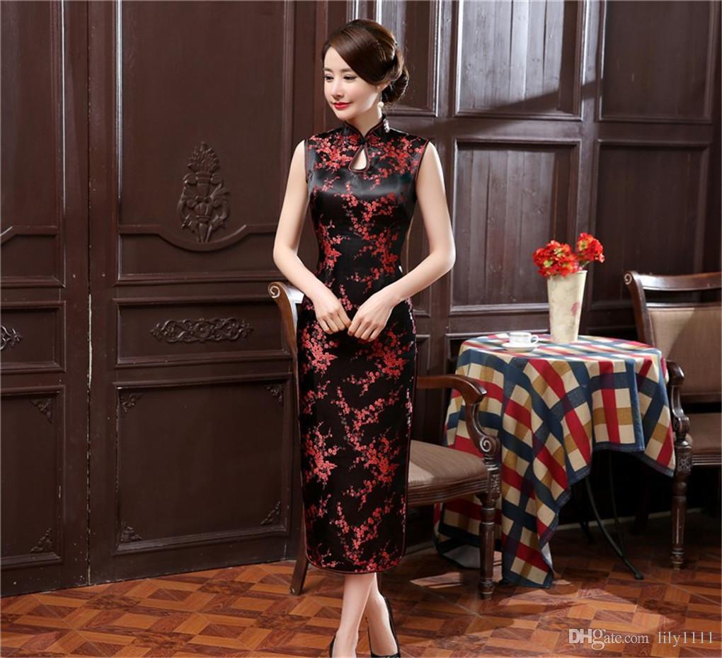 Şangay Hikayesi yeni varış Kolsuz ulusal eğilim elbise çin tarzı elbiseler uzun cheongsam çin elbise Keyhole Qipao Renkli