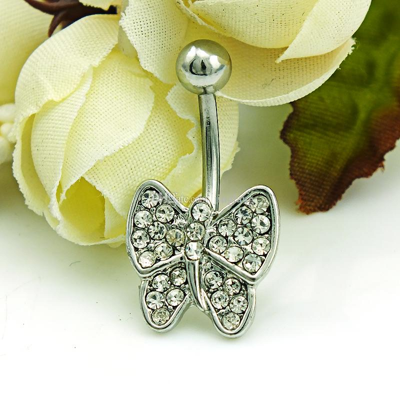 Brand New Navel Rings 316L Stainless Steel Barbells Rhinestone Bow Belly Rings Body Piercing Jewelry