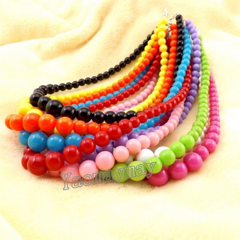 Atacado colorido Acrílico Crianças Colar Para Promoção dos doces Beads Choker frete grátis