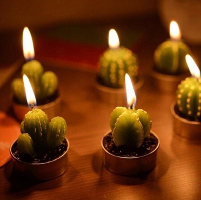 2018 /Set Home Decor Rare Mini Cactus Candle Table Tea Light Home