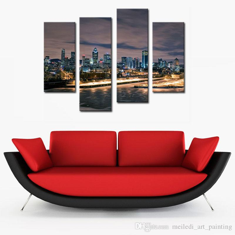 City Landscape Paintings Wall Art Downtown Skyline Buildings Night 4 Panel Picture Print on Canvas for Modern Home Decoration