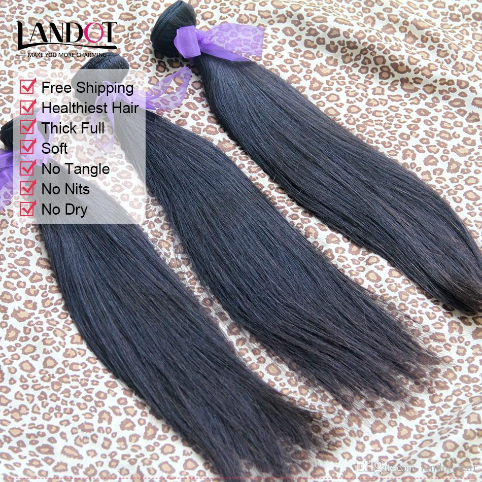 Grad 10A Brasilianisches Gerades Haar 3/4 Bundles unverarbeitetes peruanisches indisches malaysisches kambodschanisches Menschenhaar spinnt UP 2 Jahre Leben kann bleichen