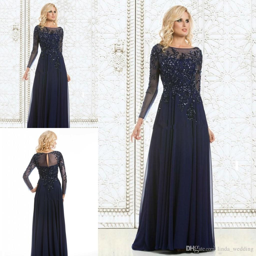 Long Sleeves Evening Dress High Quality Navy Blue Applique Chiffon ...