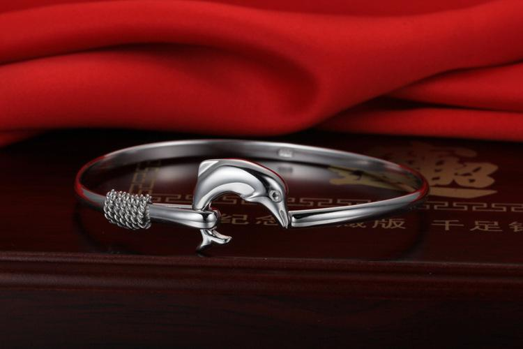 925 Sterling Silver Dolphin Bangle male Female Fashion charm Animal bracelet Factory Price 925 Silver Bangles High quality Jewelry
