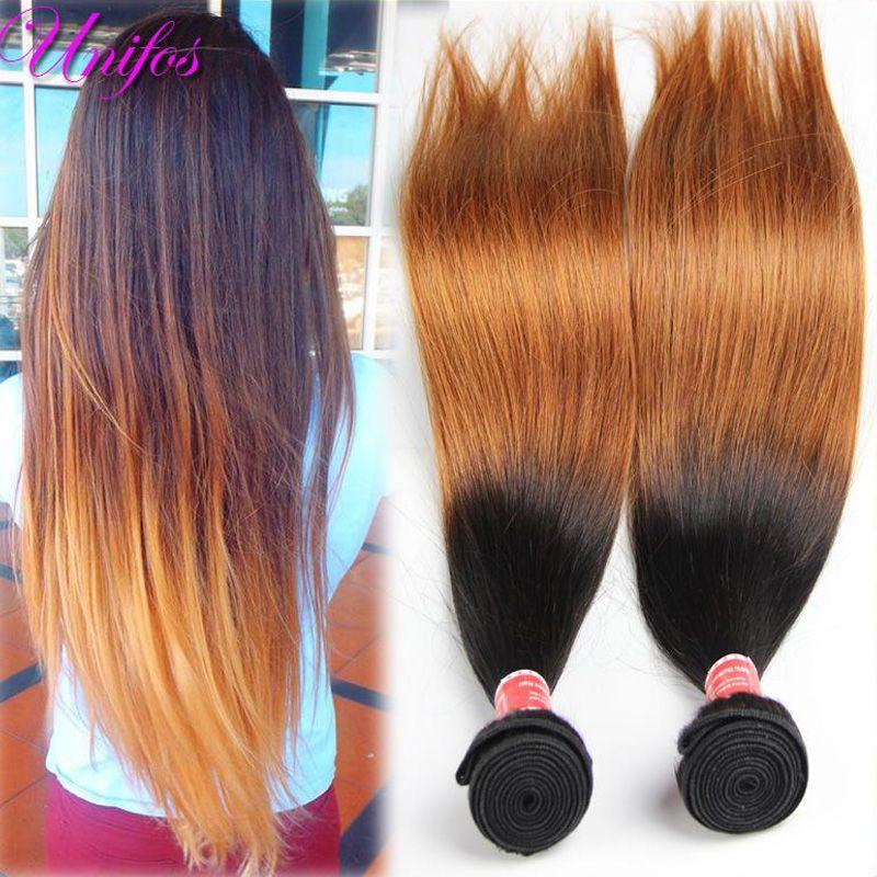 Dark Brown Brazilian Virgin Hair Straight Ombre Hair Extensions 2