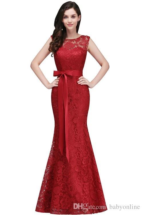 2019 Projetado Borgonha Rendas Vestidos de Baile de Formatura Elegante Sereia Vestido Formal Jóia Do Pescoço com Sash Wedding Guest Damas De Honra Vestido CPS720