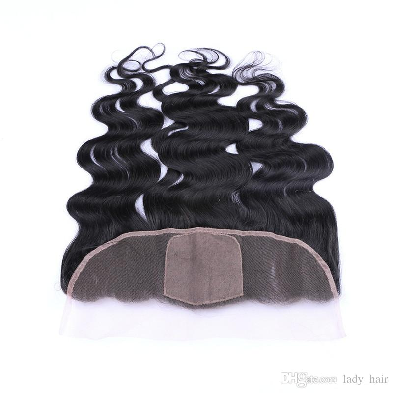 Body Wave Wavy 4x4 Silk Base Lace Frontal Closure Bleached Knots Virgin Peruvian Human Hair Silk Top Ear to Ear Lace Frontals 13x4