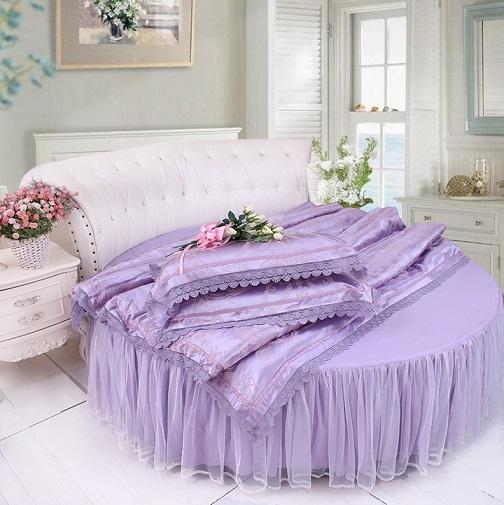 Boda de cama redonda de algodón Ropa de cama conjuntos Breve morden hogar Funda nórdica Funda de almohada Bedskirt satén jaquard beddress europeo rey reina tamaño