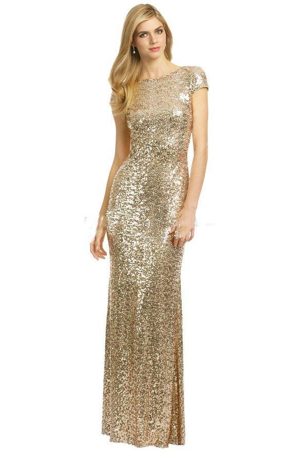 Champagne Gold Sequins Vestidos largos para dama de honor 2016 Brillante Cuello alto Manga corta Sin espalda Vestidos de fiesta de boda Vestidos de dama junior