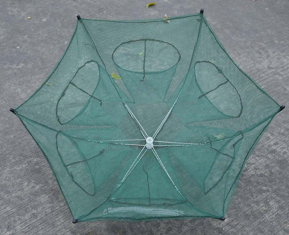 Folded Portable Hexagon 6 Hole Automatic Fishing Shrimp Trap Fishing Net Fish Shrimp Minnow Crab Baits Cast Mesh Trap B