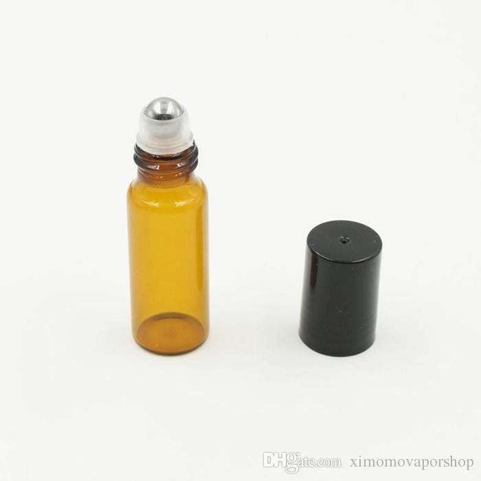 / 5ml rotolo vuoto su bottiglie di vetro ambra [rullo in acciaio inox] rotolo marrone ricaricabile aromaterapia, fragranza olio essenziale