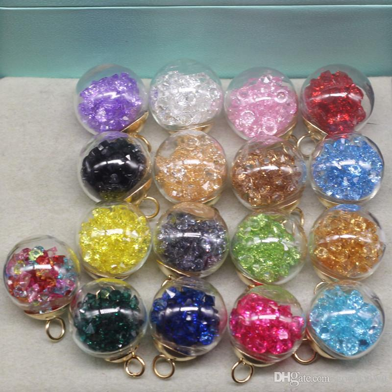 16mm Mix DIY Mini Glass Ball Bottles Charms Vials Pendant crystal Clear Wish Bottle with beads jewelry accessories