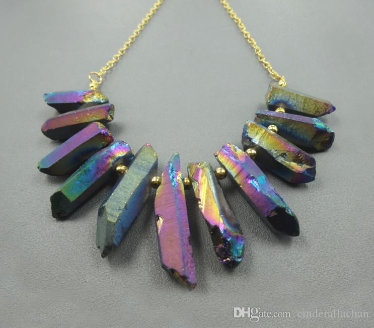 Colgantes de punto de cadena de cuarzo de cristal de arco iris plateado oro, gemas curativas crudas piedra espigas Top Briolettes perforados, collar de la mujer joyería que hace