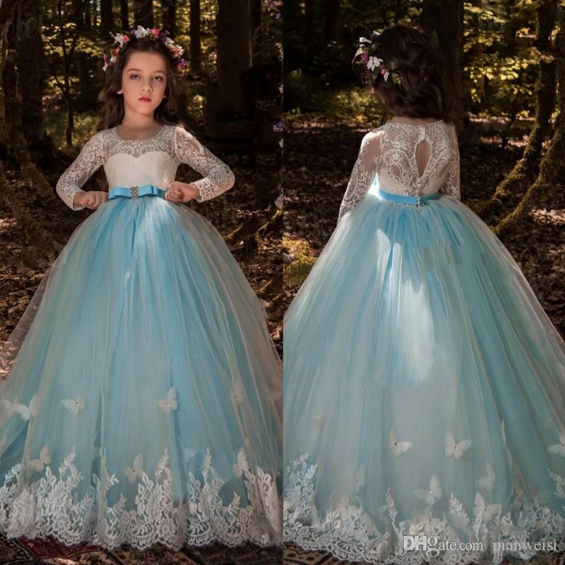 Long Sleeve Butterfly Flower Girls Dresses For Weddings Lace Ball ...