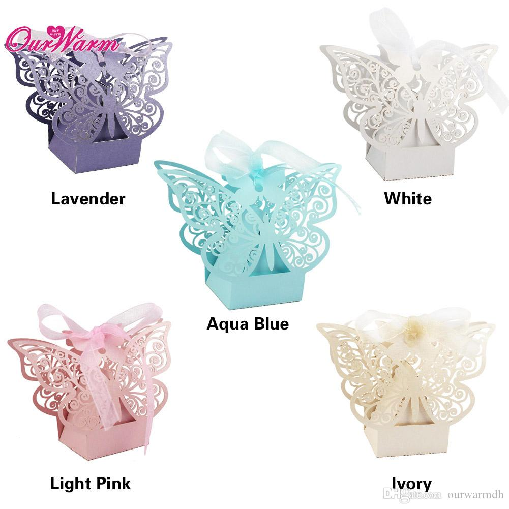 Butterfly Hollow Wedding Candy Box With Ribbon Wedding Decoration ...