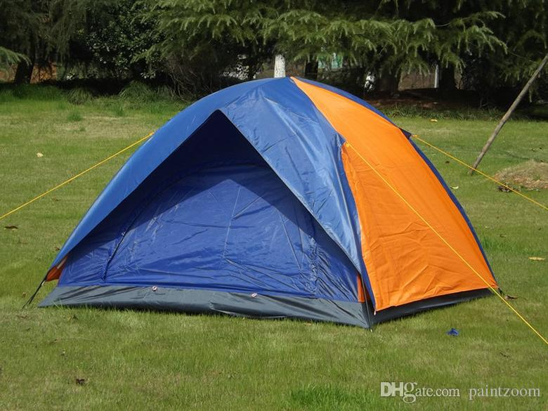 1 unids envío rápido al aire libre 3-4 persona tienda de doble capa impermeable impermeable tienda a prueba de sol camping viajando 3-4 personas PEST PRUEBA Tienda