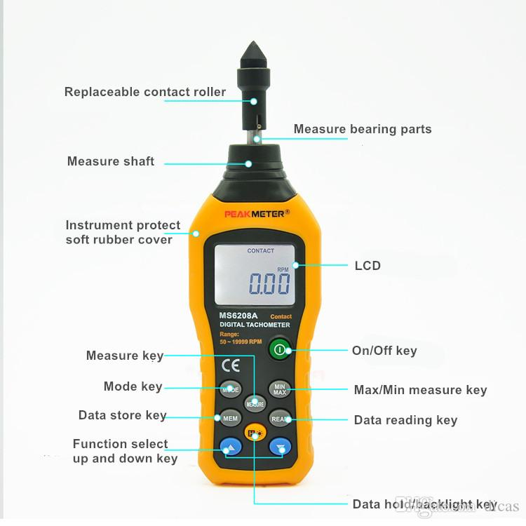 contact speed meter electronic tachometer digital speed measure instrument data storage hold backlight