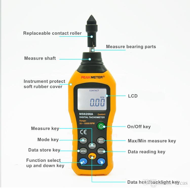 Ücretsiz Kargo İletişim Hız Ölçer Elektronik Takometre Dijital Hız Ölçümü Enstrüman veri depolama arka ışık tutun