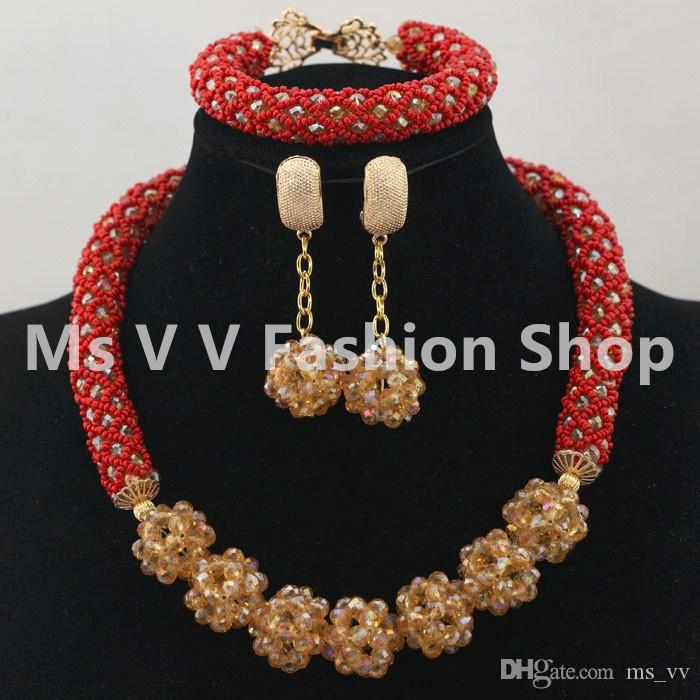 new design Glamorous orange pink colorful Wedding African Beads Jewelry Set Chunky Necklace Ball Chain Earrings Beads Set
