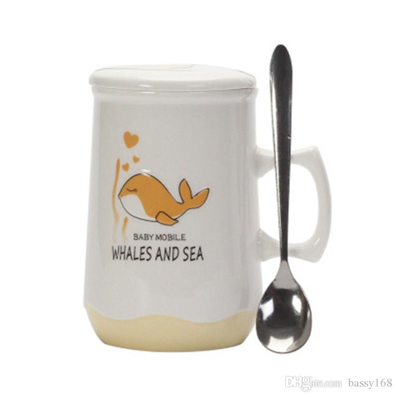 Ceramic Mug With Spoon With Cap Dolphin and Sea Water Milk Coffee Cup