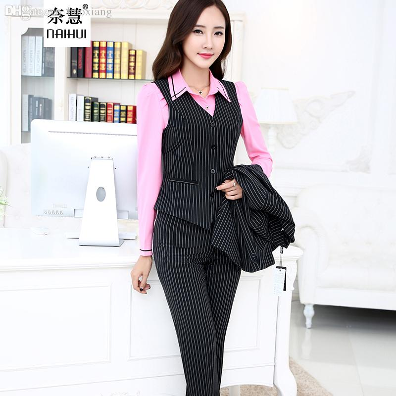 361f7061a6b Wholesale-2016 Ladies Office Uniform Style Women Business Striped ...