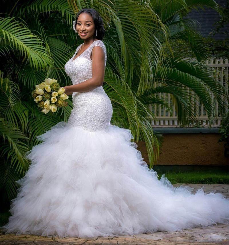 Vintage Plus Size Mermaid Wedding Dresses Beading Sheer Deep V Neck Backless Corset Ruffles Tulle Spring Garden Corset Wedding Bridal Gowns
