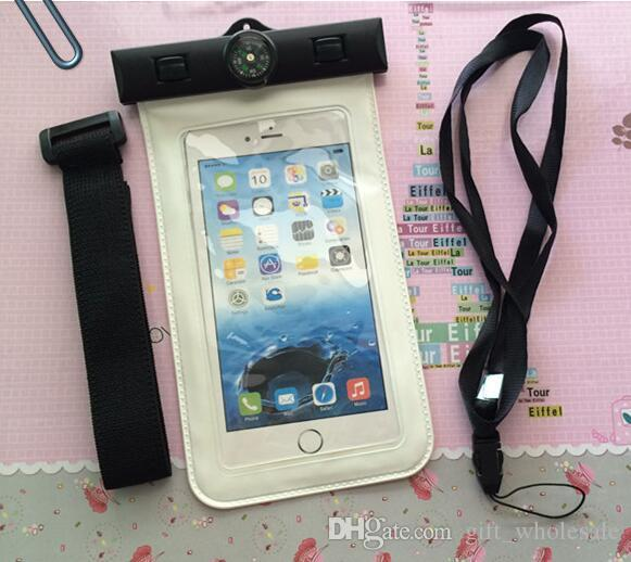 Upgraded High Quaity Compass Iphone Waterproof case mobile phones waterproof dry cell phone water proof neck and arm pouch bags for iphone 6