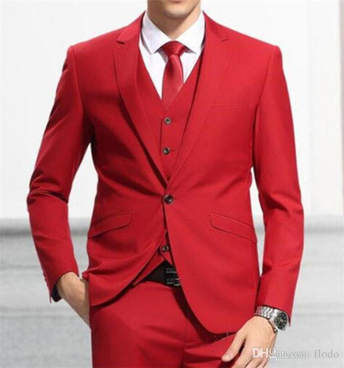 Red Wedding Tuxedos For Men 2017 Three Piece One Button Custom Made Groom Mens Suits New Jacket