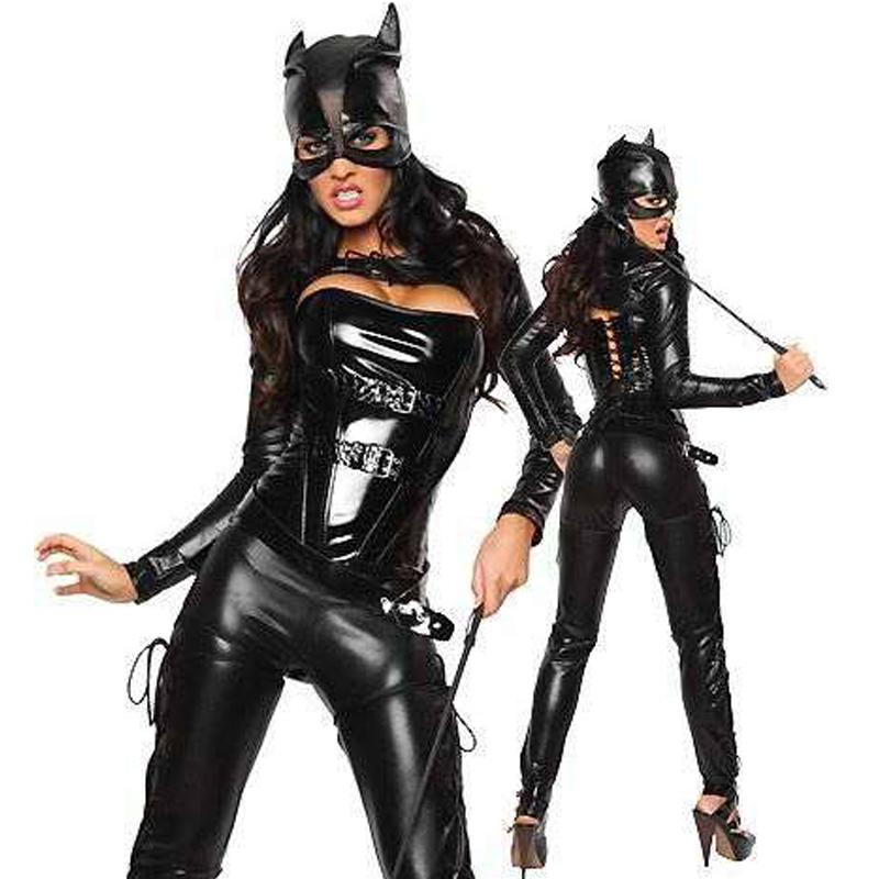 Traje de Catwoman al por mayor Sexy Black Faux Leather Batgirl Cosplay Outfit 4 Piezas Set Disfraz de Halloween para mujer con Mark W8491