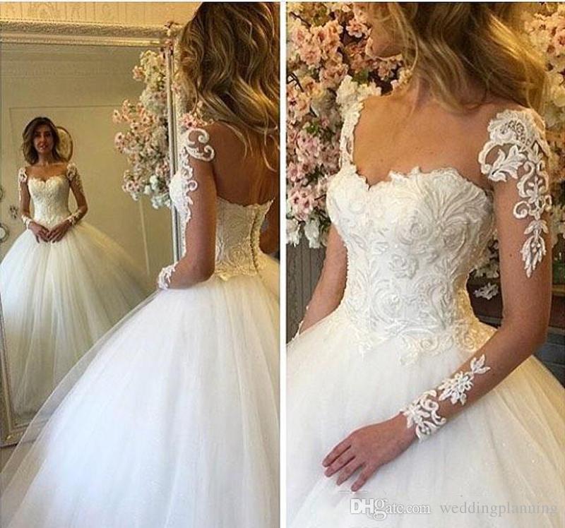 2018 Yaz Lüks Gelinlik Uzun SleeveTulle Dantel Illusion Bateau Gelin Kıyafeti Nişan Örgün Wedding Guest Elbise