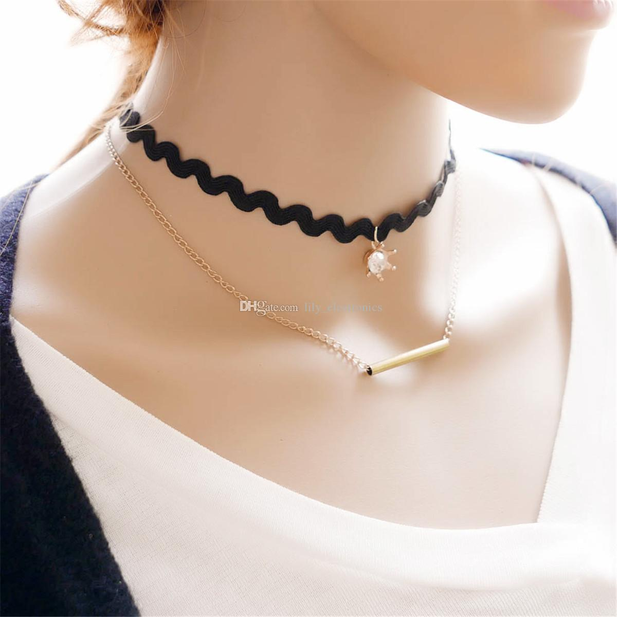 Black Gothic Collar Wave Lace Crown Crystal Pendant Multilayer Alloy Necklaces Chock Jewelry For Women Pack of