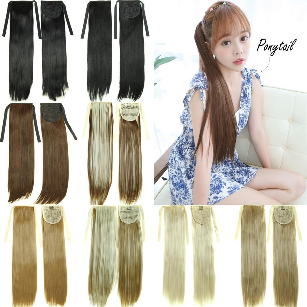 22long Straight Fake Hair Ponytail Apply Hair Clips Pony Tails