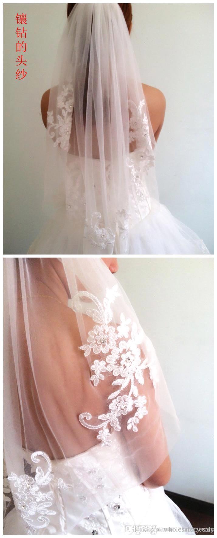 Splendida appliques Lunghezza del gomito del merletto con il pettine Accessori da sposa Veil dei veli di nozze CPA398 Veli di avorio bianco Trasporto libero