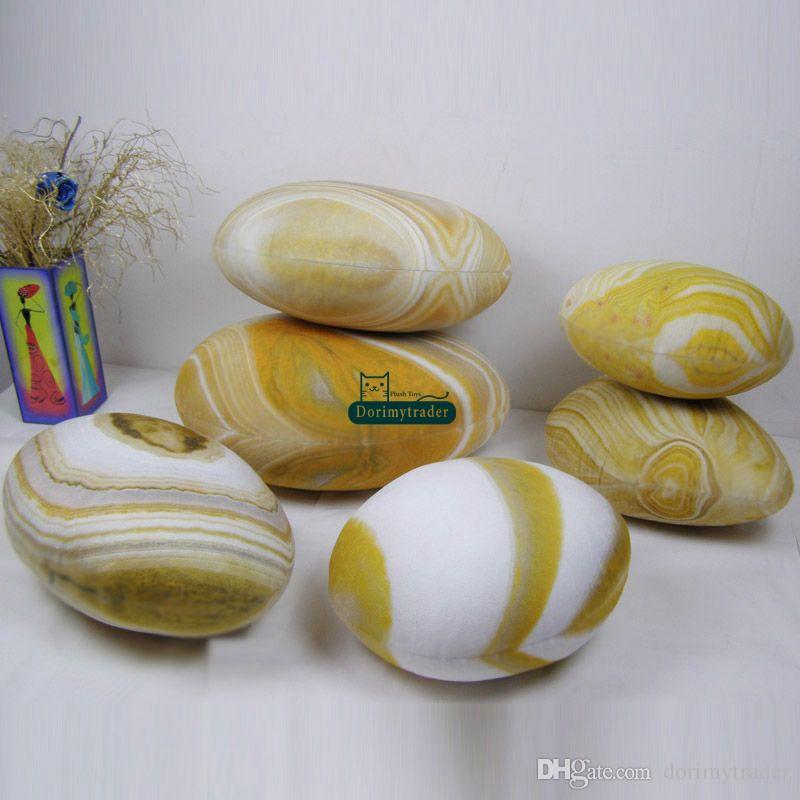 Dorimytrader 6 Adet Emulational Cobblestone Peluş Yastık Büyük Minder Odası Dekorasyon Çocuk Doğal Taş Dolması Oyuncak Ücretsiz Kargo DY61086