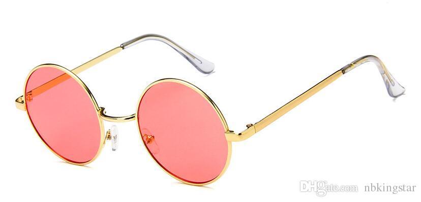 Ocean candy color lens Pink Blue Gothic Steampunk Unisex Sunglasses Men Women Eyeglasses Round Brand Designer Sun glasses Mirror