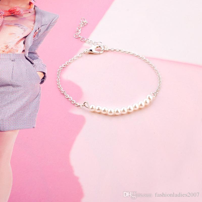 Женщины жемчужные браслеты Новые простые ручной жемчужины браслет золота и серебряные браслеты браслеты браслеты ювелирные изделия подарки для женщин и девочек