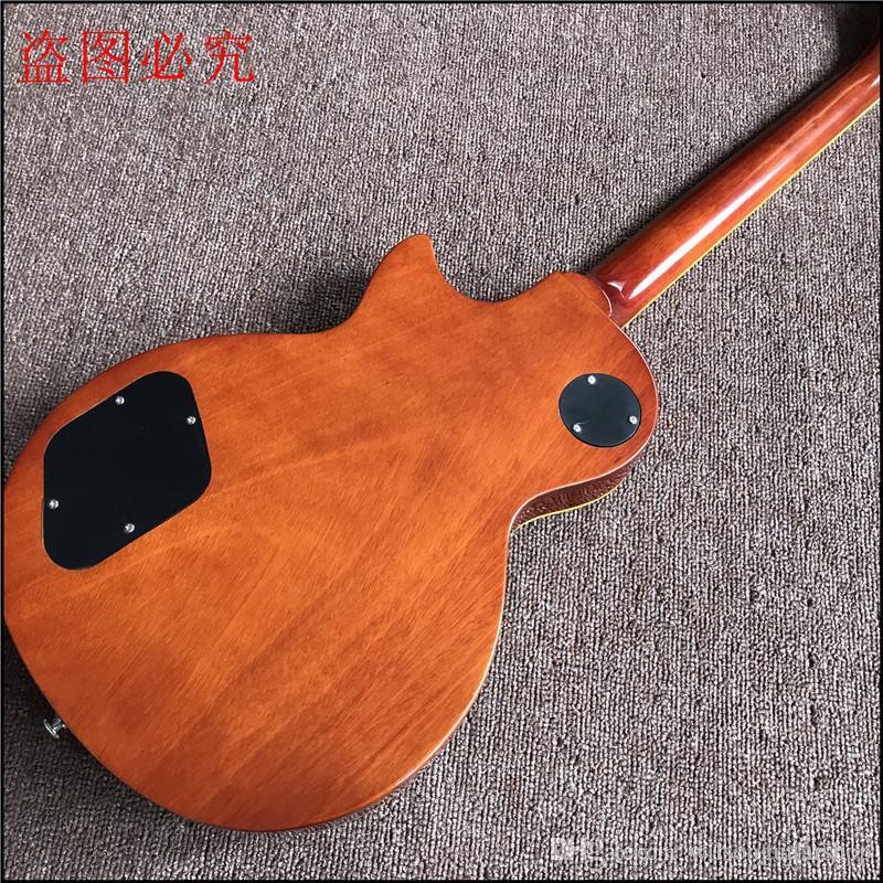 1959 R9 Guitarra Elétrica Tiger Flame com hardware cromado de luxo acabado com hardware padrão Chrome guitarra elétrica