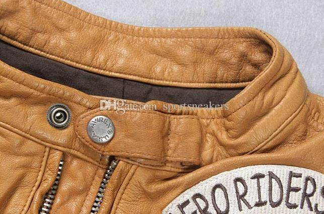 AVIREX première couche de veste en cuir de vachette mince jaune types de vêtements de moto marquée veste dermique