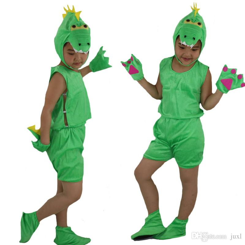 4921e539daf71 2018 Cute Short Sleeved Animal Dinosaur Cosplay Costume For Kids  Performance Show Props Halloween Carnival Party Dress Supplies
