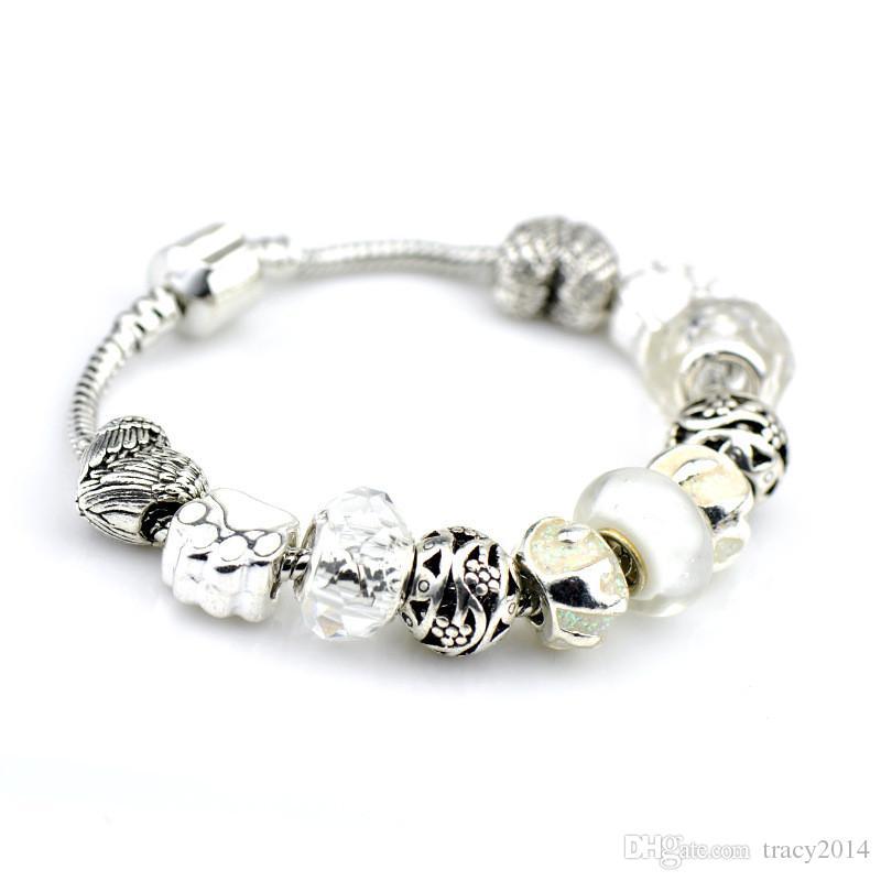 Diy coração liga acessório para pulseira de prata pulseira de pandora com jóias de cristal diy fazendo contas parafuso jóia do petróleo para as mulheres