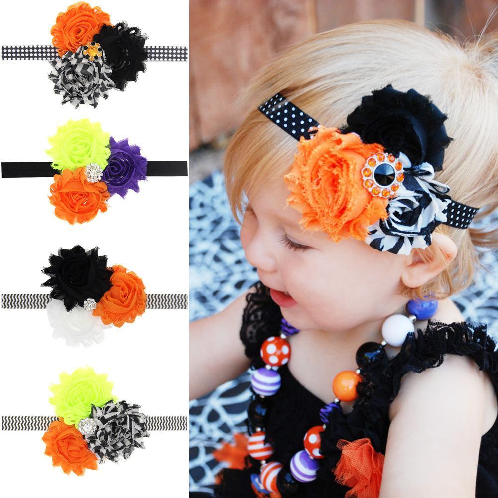 Hot Sale Halloween Children's Accessories Flowers Headbands for Girls Sweet Rhinestone Kids Pumpkin Hair Bows Elastic Girl Hair Band A5725