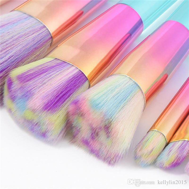 Cystal Makeup Brushes Sets Rainbow Soft Hair Foundation Concealer Brush Cosmetic Kit Kabuki Make Up Brushes Tools